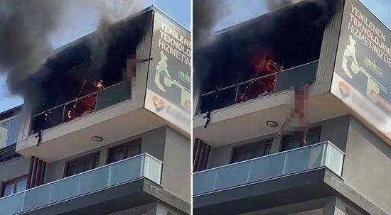 Korku dolu anlar: Yangında mahsur kaldı, alt kattaki balkona atladı