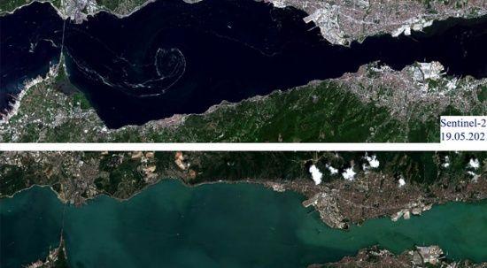 Uzaydan görüntülendi! Marmara Denizi yüzeyindeki müsilaj temizlendi