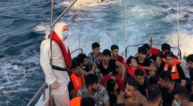 Çanakkale açıklarında 63 düzensiz göçmen yakalandı