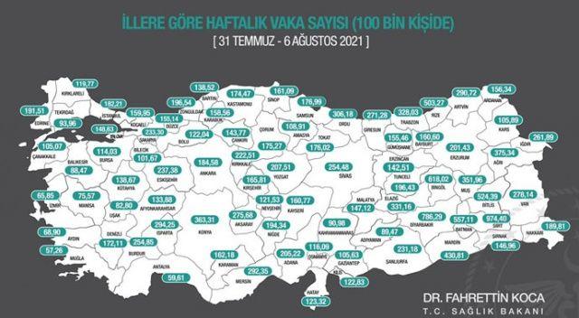 Sağlık Bakanı Koca illere göre haftalık vaka haritasını açıkladı