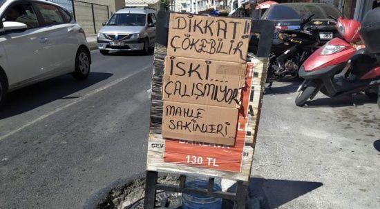 İSKİ'ye 'çalışmıyor' pankartıyla tepki