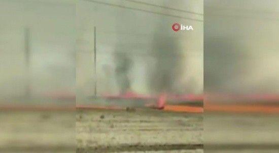 Rusya'da yangın sırasında hortum çıktı! Korku dolu anlar kameralara yansıdı