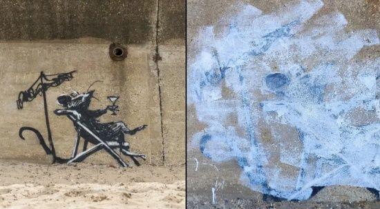 Sanat düşmanları! Banksy'nin resmini mahvettiler