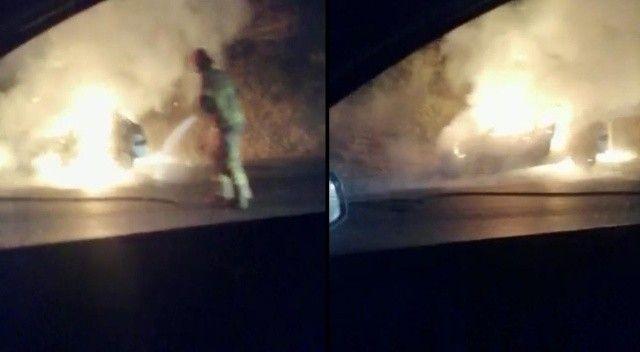 Otomobil alev alev yandı, sürücü canını zor kurtardı