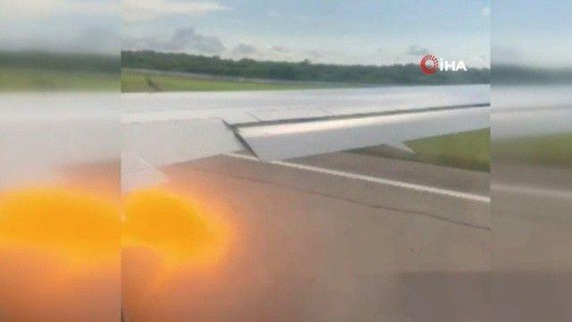 Uçağın motoruna kuş sıkıştı, alev topları etrafa yayıldı