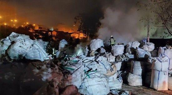 Avcılar'da geri dönüşüm fabrikasında korkutan yangın