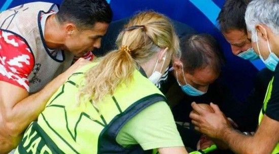 Ronaldo ısınma sırasında kadın güvenlik görevlisini bayılttı!