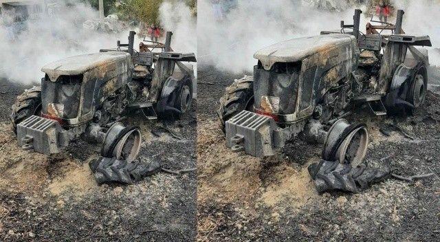 Elektrik tellerini korumak isterken traktörünü yaktı