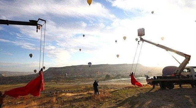 Kapadokya'da fotoğraf tutkunlarının yeni gözdesi 'vinç'
