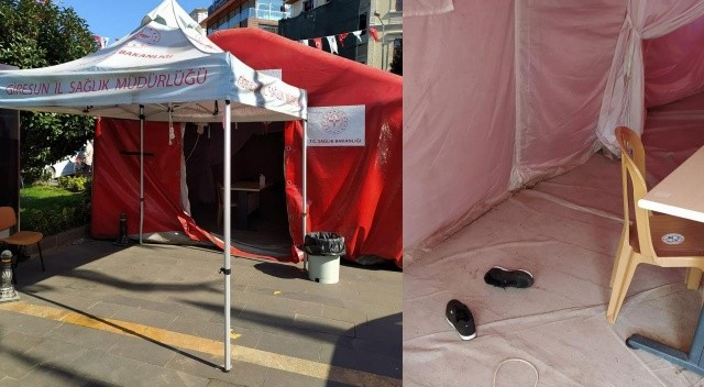 Kent meydanına kurulan aşı çadırına zarar verildi