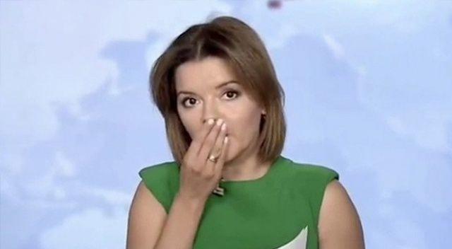 Ukraynalı spiker haber sunarken dişi yerinden çıktı