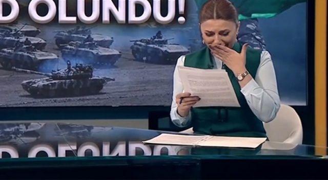 Azeri spiker, memleketi Zengilan'ın kurtuluş haberini gözyaşlarını içinde sundu