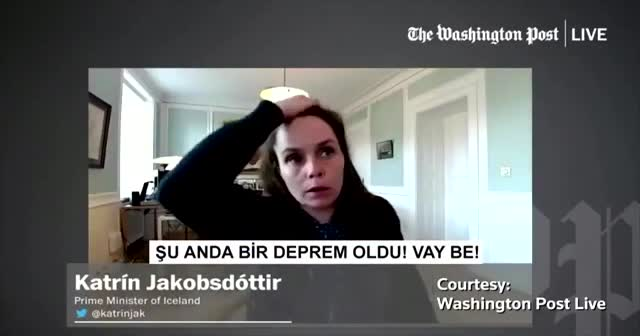İzlanda Başbakanı Jakobsdottir canlı yayında depreme yakalandı