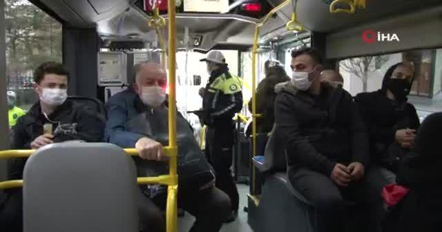 Taksim'de toplu taşıma araçlarında koronavirüs denetimi