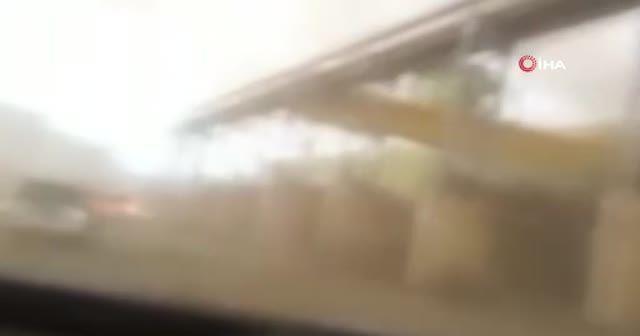 Yangın sırasında hortum çıktı: Otomobil böyle havalandı